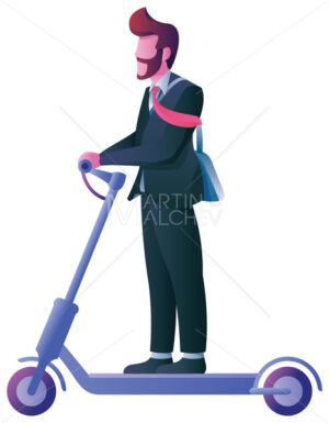 Businessman on Electric Scooter on White - Martin Malchev