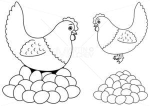 Hen and Eggs Line Art - Martin Malchev