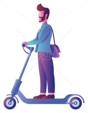 Man on Electric Scooter on White - Martin Malchev