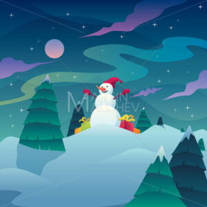 Snowman Christmas Landscape - Martin Malchev