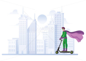 Superhero on Electric Scooter - Martin Malchev