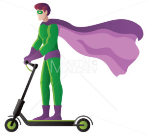 Superhero on Electric Scooter on White - Martin Malchev
