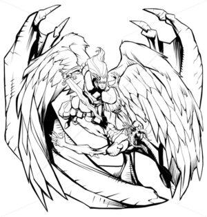 Angel versus Devil Line Art - Martin Malchev