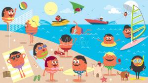 Beach Landscape Cartoon - Martin Malchev