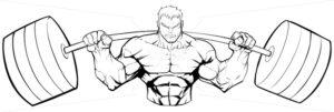 Bodybuilder Gym Mascot Grit Line Art - Martin Malchev