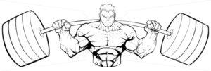 Bodybuilder Gym Mascot Line Art - Martin Malchev
