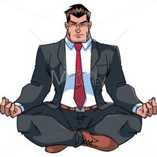 Businessman Meditating Illustration - Martin Malchev