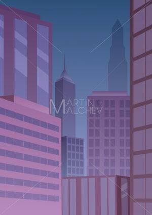 Cityscape Art Deco Purple - Martin Malchev