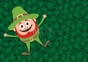 Happy Leprechaun on Clovers - Martin Malchev