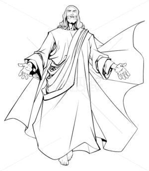 Jesus Open Arms Line Art - Martin Malchev