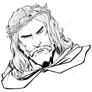 Jesus Portrait 2 Line Art - Martin Malchev
