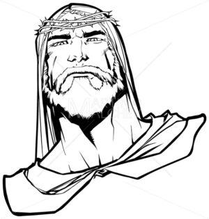 Jesus Portrait 3 Line Art - Martin Malchev