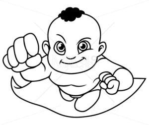 Super Baby Black Line Art - Martin Malchev