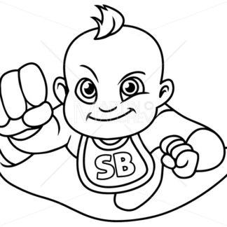 Super Baby Flying Line Art - Martin Malchev