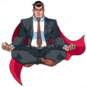 Super Businessman Meditating on White - Martin Malchev
