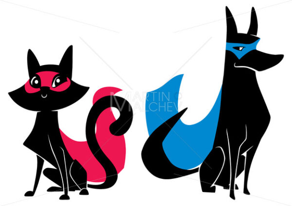 Super Cat and Super Dog Silhouettes - Martin Malchev