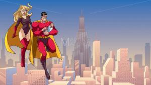 Super Dad Mom and Baby in City - Martin Malchev