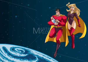 Super Dad Mom and Baby in Space - Martin Malchev