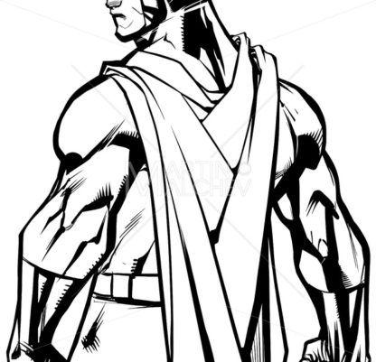Superhero Back Battle Mode Line Art - Martin Malchev