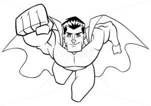 Superhero Coming at You Line Art - Martin Malchev
