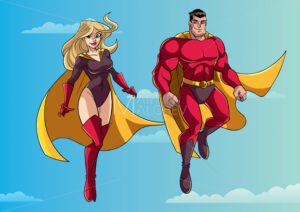Superhero Couple Flying in Sky - Martin Malchev