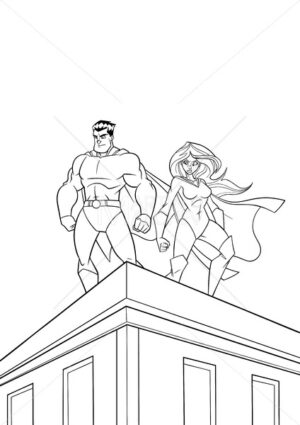 Superhero Couple Roof Watch Line Art - Martin Malchev