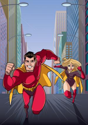 Superhero Couple Running Hero Leads - Martin Malchev