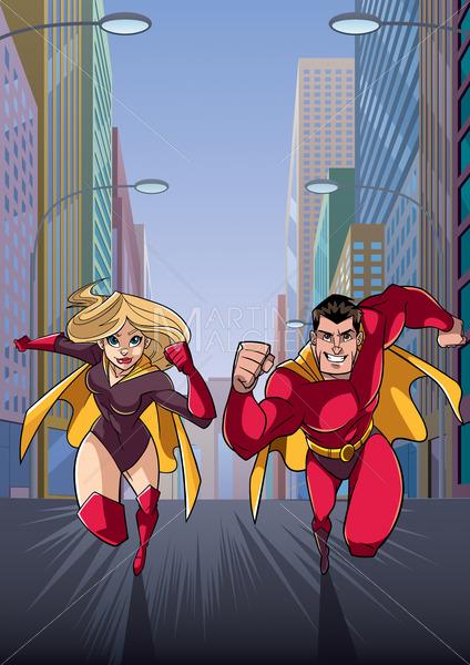 Superhero Couple Running in City - Martin Malchev