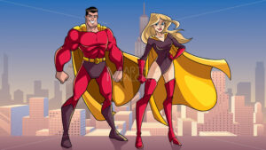 Superhero Couple Standing Tall in City - Martin Malchev