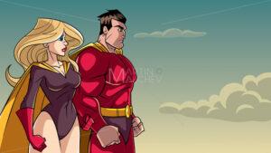 Superhero Couple Standing Together - Martin Malchev