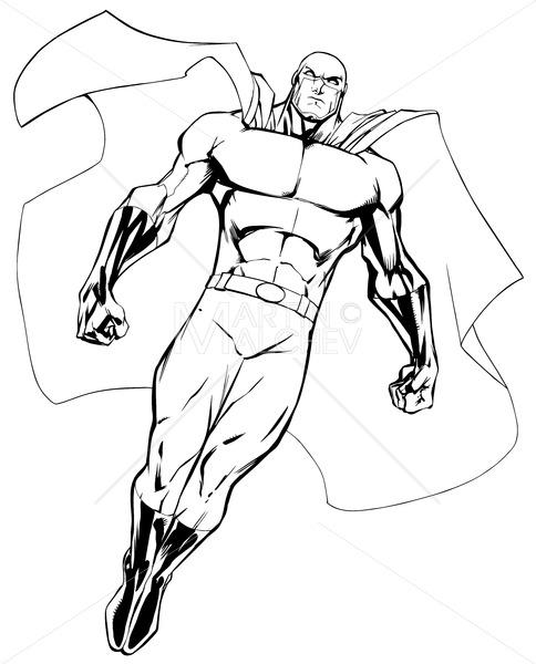 Superhero Flying 6 Line Art - Martin Malchev