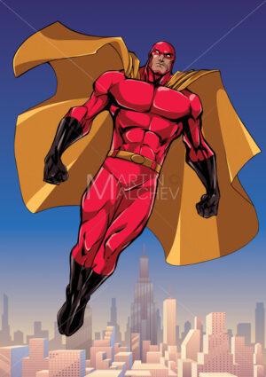 Superhero Flying Above the City - Martin Malchev