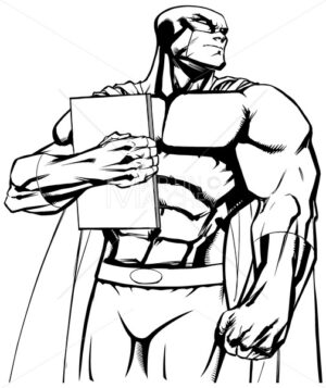 Superhero Holding Book Line Art - Martin Malchev