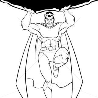 Superhero Holding Boulder Line Art - Martin Malchev