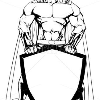 Superhero Holding Shield No Mask Line Art - Martin Malchev