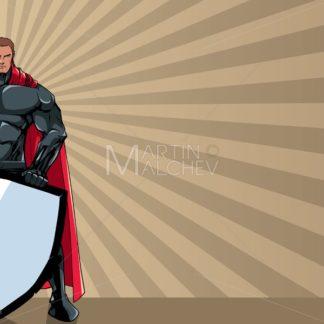 Superhero Holding Shield Ray Light Background - Martin Malchev