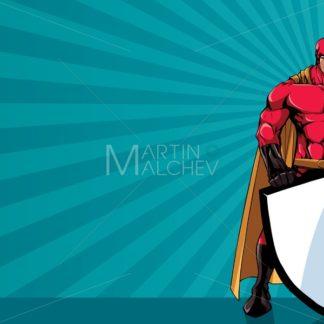 Superhero Holding Shield Ray Light Horizontal - Martin Malchev