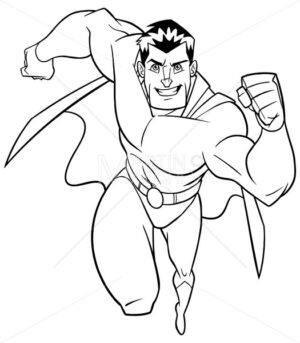 Superhero Running Frontal View Line Art - Martin Malchev