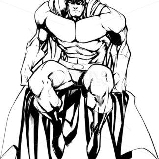 Superhero Sitting Isolated Line Art - Martin Malchev