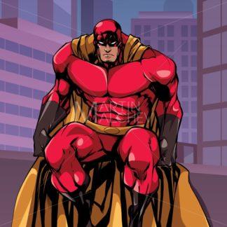 Superhero Sitting in City - Martin Malchev