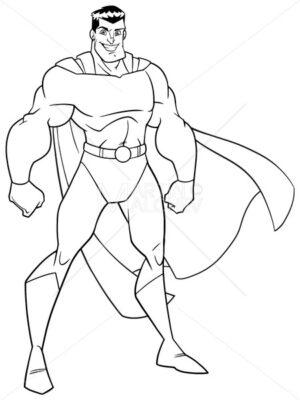 Superhero Standing Tall Line Art - Martin Malchev