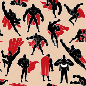 Superhero in Action Seamless Pattern - Martin Malchev