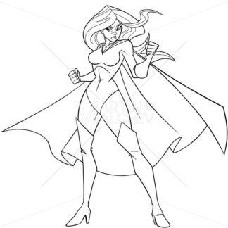 Superheroine Battle Mode Line Art - Martin Malchev