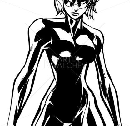 Superheroine Battle Mode No Cape Line Art - Martin Malchev