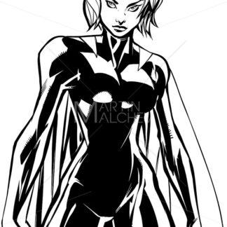 Superheroine Battle Mode No Mask Line Art - Martin Malchev