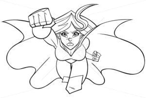 Superheroine Coming at You Line Art - Martin Malchev
