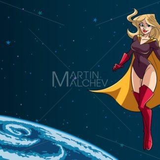 Superheroine Flying in Space - Martin Malchev