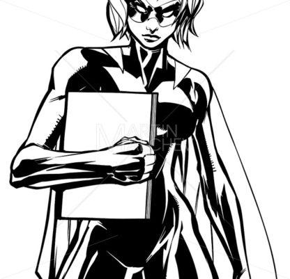 Superheroine Holding Book Line Art - Martin Malchev