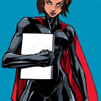 Superheroine Holding Book No Mask - Martin Malchev