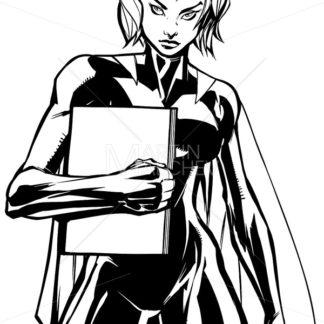 Superheroine Holding Book No Mask Line Art - Martin Malchev